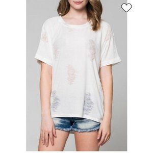 Lulus White Ripped Distressed T shirt Top